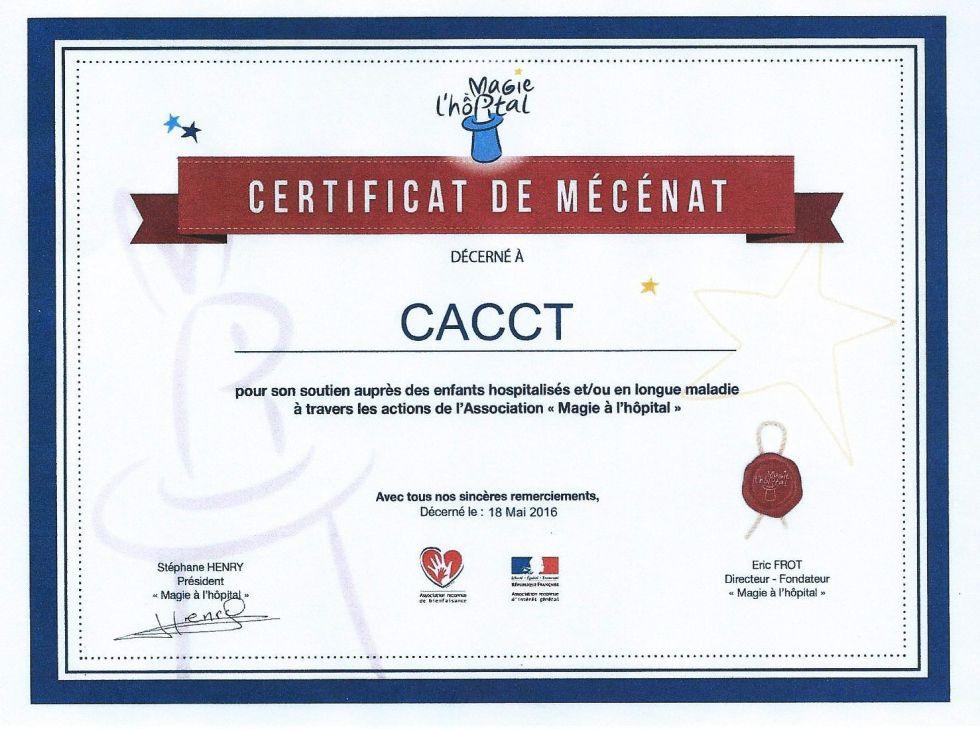 Certificat de Mécénat CACCT